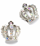 Crystal AB Crown Earrings