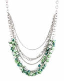 Green Multi Crystal Cluster Layered Chain Necklace Set