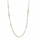 "Peace Turquoise Oval Links 36"" Necklace"