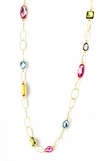 Multi Color Stone and Open Oval Link Long Necklace