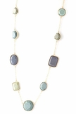 Grey Multi Stone Long Necklace