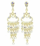Crystal AB Golden Chandelier Earrings