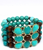 Turquoise and Wood Bead Stretch Bracelet