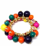 Bold Multi and Gold Bead Stretch Bracelet