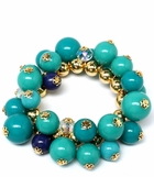 Bold Turquoise and Gold Bead Stretch Bracelet