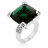 Bold Emerald Cushion Cut CZ Solitaire Ring