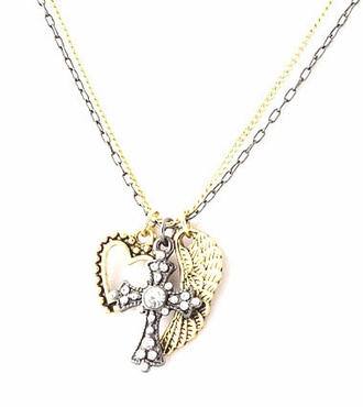 Multi Charm Double Strand Two-Tone Necklace