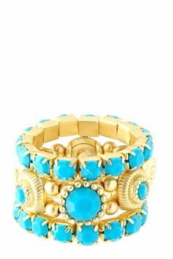Turquoies Stone Stacking Ring Set