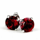 Ruby CZ 6 Carat Stud Earrings