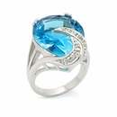 Aquamarine CZ Pear Cut Solitaire Ring