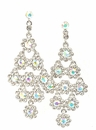 Clear AB Crystal Layered Flowers Chandelier Earrings