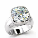 Bold Cushion Cut Solitaire CZ Band Ring