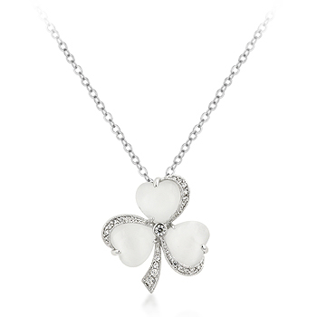 White Hearts and CZ Clover Pendant Necklace