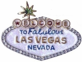 Swarovski Crystal & Enamel Welcome To Las Vegas Pin