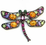 Multi Crystal Dragonfly Pin