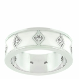 White Enamel CZ Band Ring