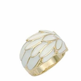 White Enameled Wrapped Wing Band Ring
