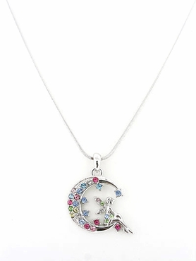 Crystal Multi Fairy Moon Pendant Necklace