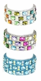 Triple Row Multi Crystal Stretch Bracelet