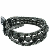 Jet Multi Crystal Stretch Bracelet Set