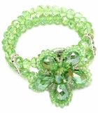 Peridot Crystal Layered Flower Stretch Bracelet