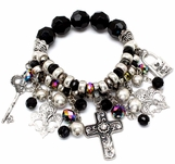 Vintage Style Jet Beads and Antiqued Charms Bracelet