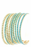 Turquoise and Jade 9 Stacking Bracelet Set