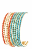 Turquoise Coral and Pearl 9 Stacking Bracelet Set