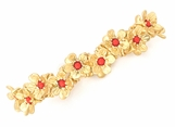 Coral Gold Flower Stretch Bracelet