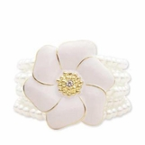 White Enameled Flower Stretch Bracelet