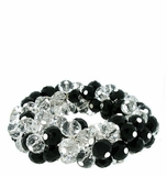 Jet and Clear Crystal Beaded Cluster Stretch Bracelet
