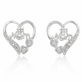 Open Heart CZ Mom Earrings