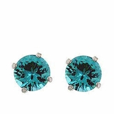 Aqua CZ 6 Carat Stud Earrings