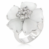 White Clover Hearts and CZ Layered Flower Ring