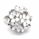 White Enameled Flower Cluster Ring