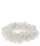 Clear and White Alabaster Crystal Beaded Cluster Stretch Bracelet