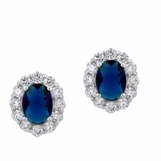 Sapphire CZ Framed Solitaire Earrings
