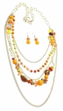 Orange Multi Beaded Layered Mixed Chain Necklace Set