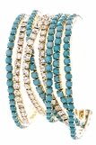 Turquoise and Crystal Eight Strand Bracelet Set