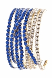 Navy Blue and Crystal Eight Strand Bracelet Set