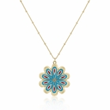 Turquoise Multi Enameled Flower Pendant Necklace