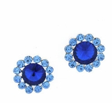 Crystal Sapphire Multi Flower Earrings