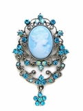Aqua Crystal Filigree Cameo Brooch