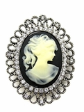 Black Cameo Crystal Framed Brooch
