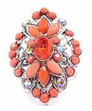 Coral Crystal AB Marquise Ring