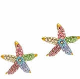Multi Crystal Starfish Earrings