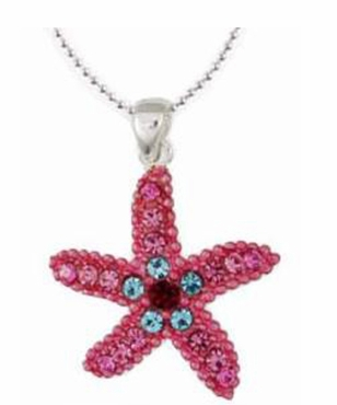 Pink Swarovski Crystal Starfish Necklace