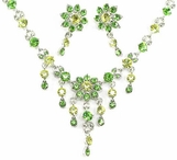 Peridot Multi Crystal Flower Necklace and Earrings Set