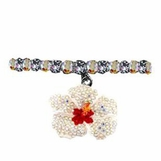 Crystal & Enamel Hibsicus Flower Stretch Bracelet