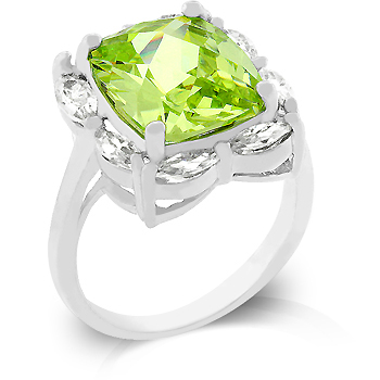 Emerald Cut Peridot CZ Marquise Framed Ring